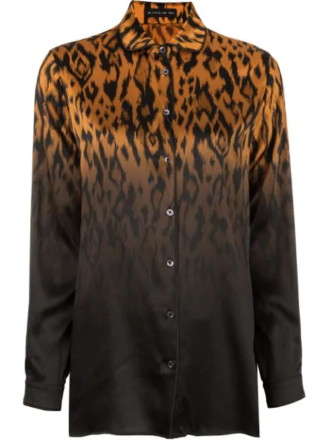 Etro Leopard Ombre Satin Long-Sleeve Blouse In Orgblack