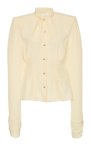 Dolce & Gabbana Long-Sleeve Button-Front Shirt With Padded Shoulders In Neutral