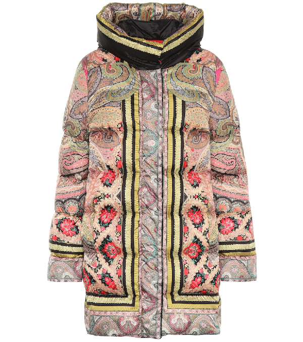 Etro Long Floral Puffer Jacket In Multicoloured