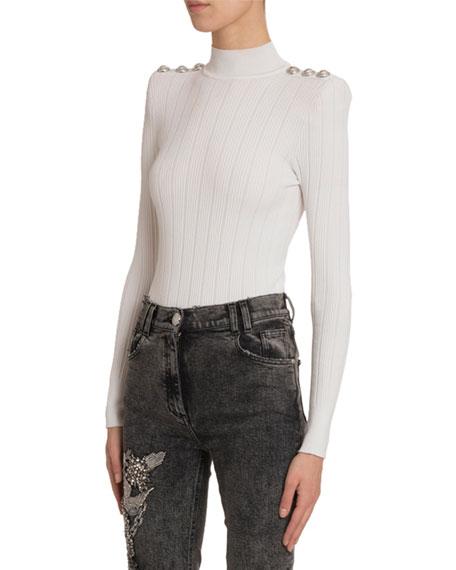 Balmain Turtleneck Knit Bodysuit In White