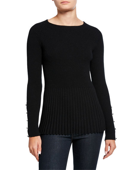 Ribbed Cashmere Peplum Sweater W Button Sleeve Detail In Black