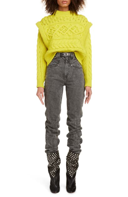 Isabel Marant Layered Cable Wool Sweater In Yellow