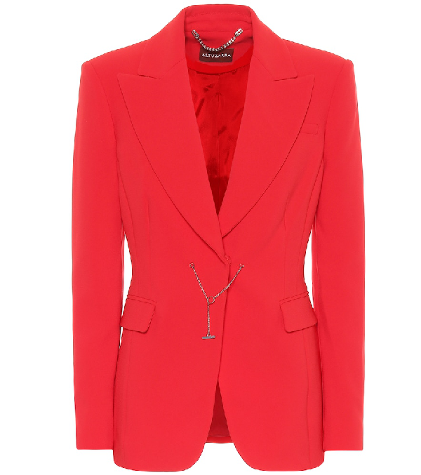 Altuzarra Wool Crepe Fitted Chain-Front Blazer In Red