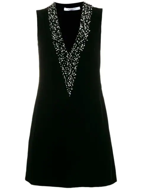 Givenchy Pearl Embroidered Velvet Mini Dress In Black