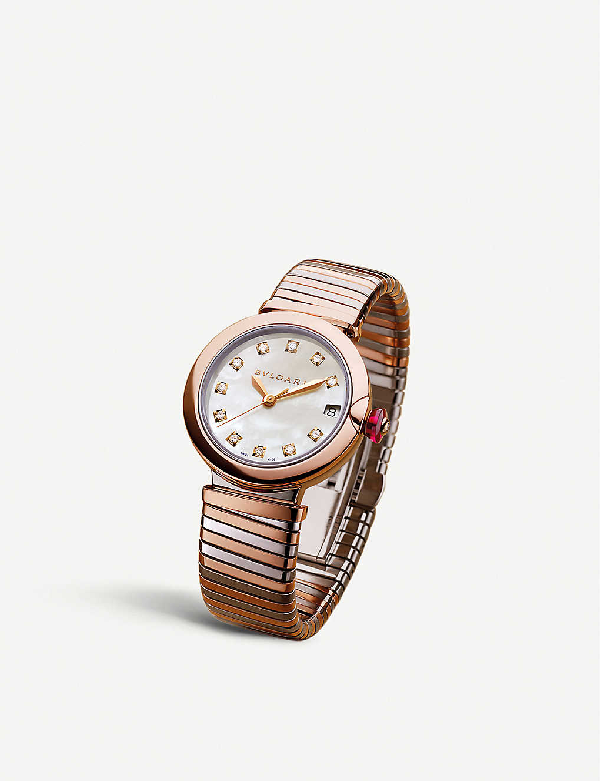 Bvlgari Lvcea Tubogas 18kt Rose-gold, Diamond And Stainless Steel Watch In White