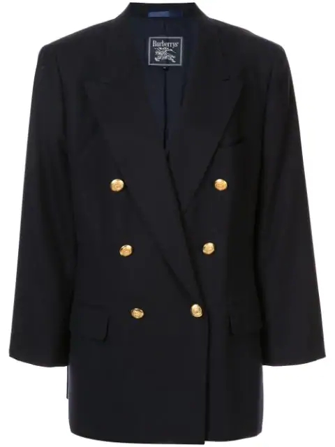 Burberry Double Breasted Loose Fit Blazer In Blue