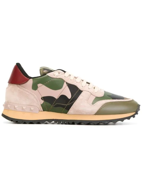 f6422061d0417 Valentino Rockrunner Mixed-Material Camouflage Sneakers In Neutrals ...