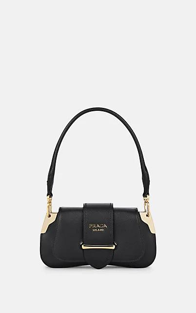 Prada Sidonie Small Leather Shoulder Bag - Black