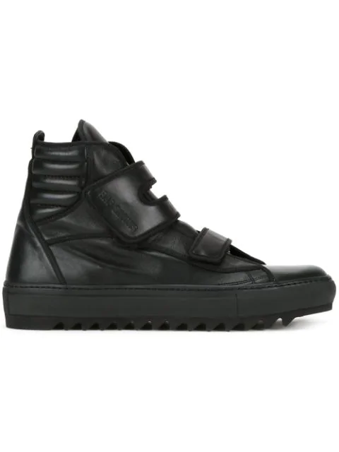 Raf Simons Touch Strap Hi-top Sneakers In Black