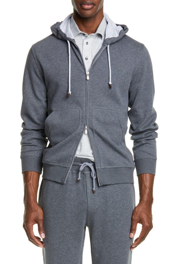 Brunello Cucinelli Leisure Hooded Cotton Blend Sweatshirt In Grey
