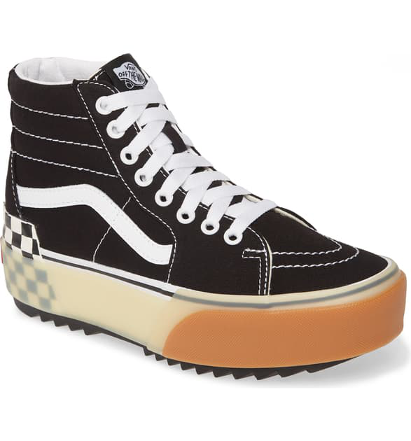 Sk8 hi Stacked Check Platform High Top Sneaker In Black Checkerboard