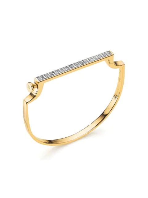 Monica Vinader Signature Thin Diamond Bangle In Gold