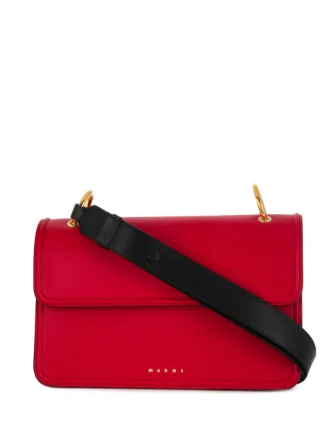 Marni Contrast Handle Clutch Bag - Red