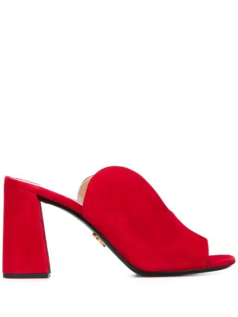 Prada Cut-Out Mules In Red