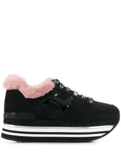Hogan Maxi H222 Platform Sneakers In Black Pink