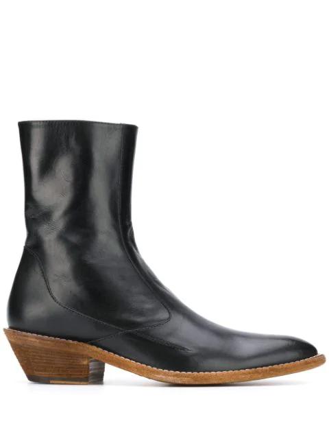 Haider Ackermann Leather Cowboy Boots In Black