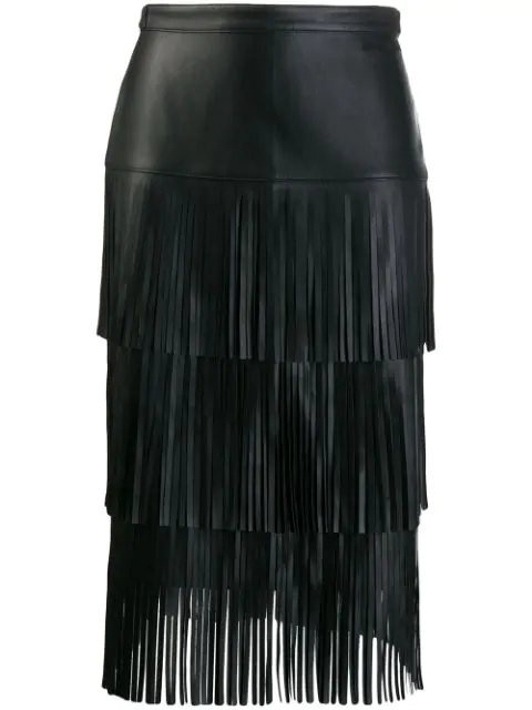 Karl Lagerfeld Fringed Leather Skirt In Black