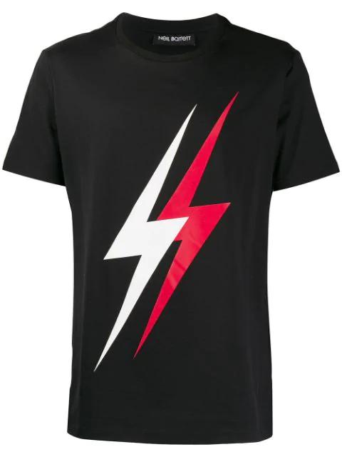Neil Barrett Men's Short Sleeve T-shirt Crew Neckline Jumper Double Thunder Slim Fit In 1133 Black/white/red