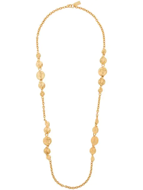 Kenzo Leaf Motif Long Necklace In Gold