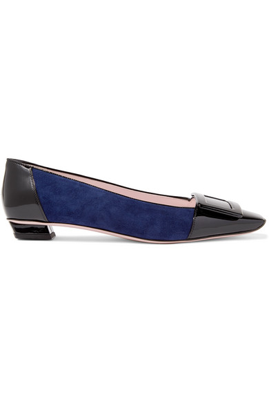 Roger Vivier Belle Vivier Patent-Leather And Suede Ballet Flats In Navy