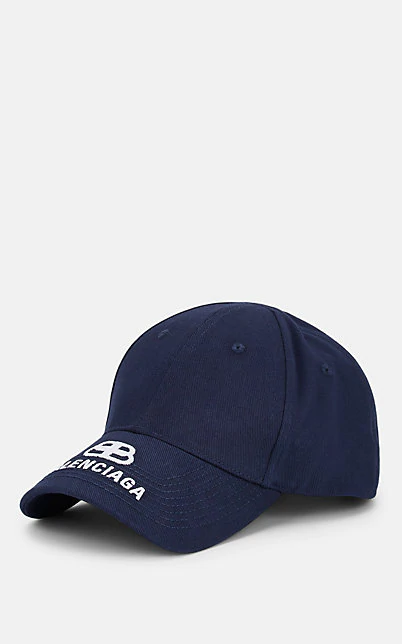 Balenciaga Logo-Embroidered Cotton-Twill Baseball Cap In Navy