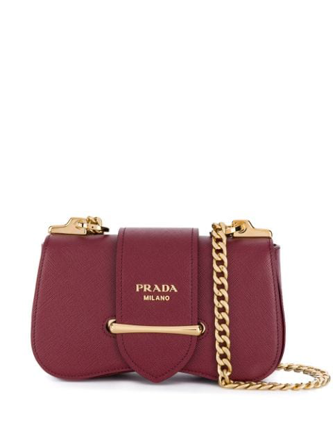 Prada Sidonie Small Leather Shoulder Bag In Red