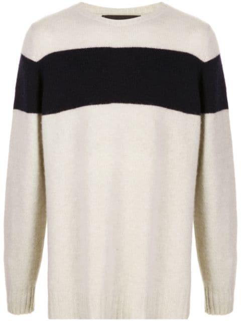 The Elder Statesman Striped Racing Cashmere Sweater In Neutrals