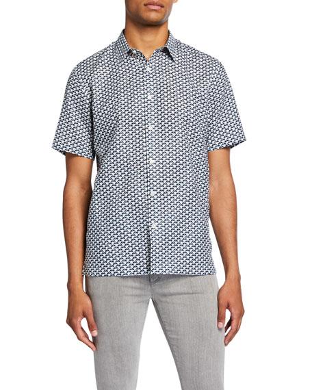 Theory Men's Dash-Print Linen/Cotton Short-Sleeve Sport Shirt In Aloe Multi