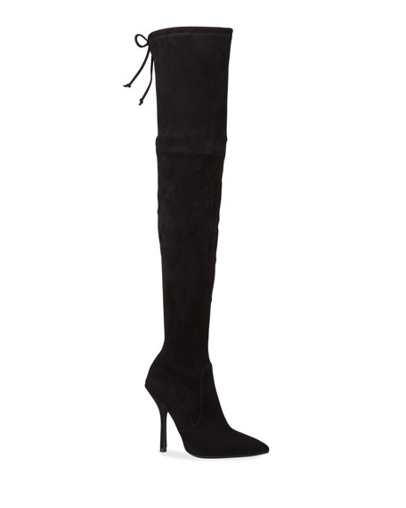 Stuart Weitzman Arla Suede Pointed Toe Thigh High Boots In Black