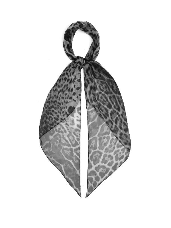 Saint Laurent Leopard-print Silk-chiffon Scarf In Black