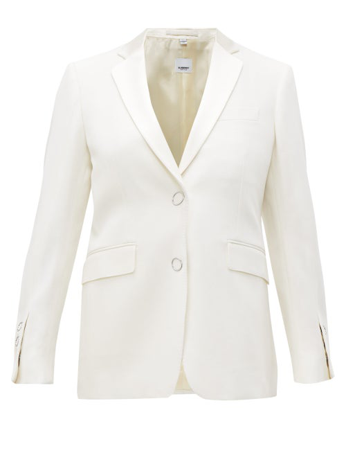 Burberry Single-Breasted Satin-Lapel Wool Jacket In White
