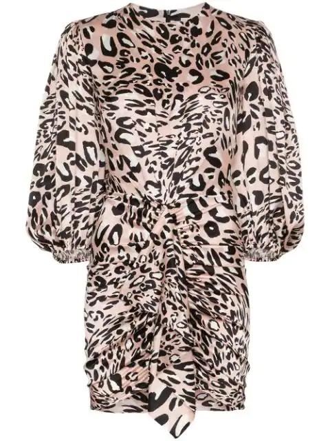 Alexandre Vauthier Leopard-print Stretch-silk Satin Mini Dress In  Powder Pink