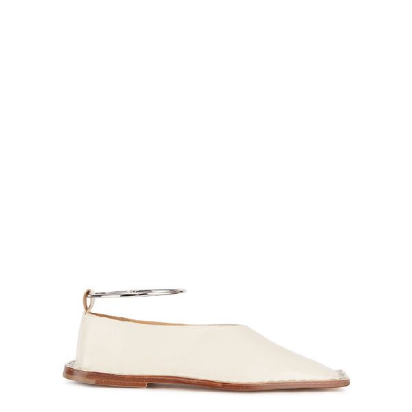 Jil Sander Two-Tone Leather Ballet Flats In White