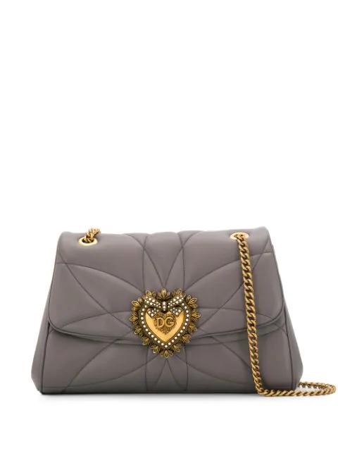 Dolce & Gabbana Heart Plaque Shoulder Bag In Grey