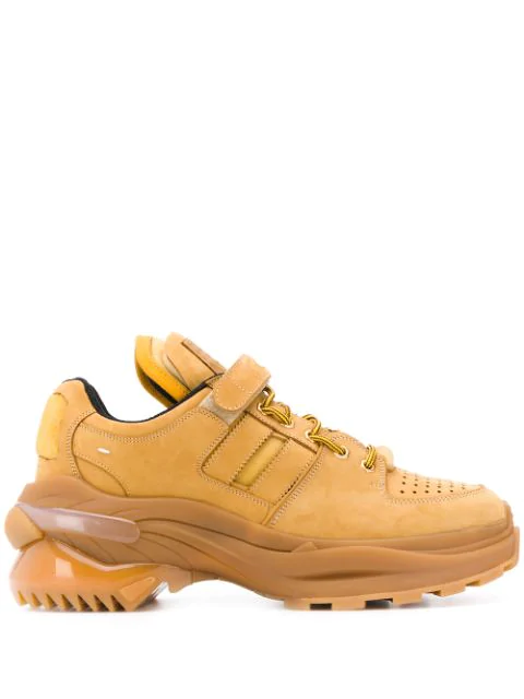 Maison Margiela Martin Margiela Suede Leather Retro Fit Sneakers In H6914 Mustard