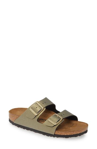 Birkenstock Arizona Icy Metallic Slide Sandal In Icy Metallic Stone Gold