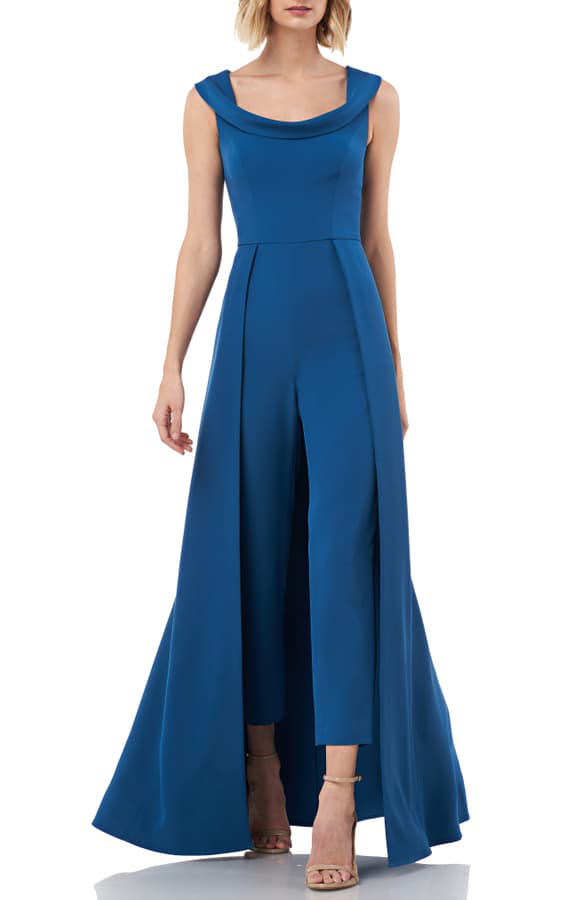 Kay Unger Jumpsuit Gown In Peacock