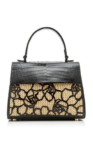 Nancy Gonzalez Lexi Small Crocodile And Straw Bag In Black