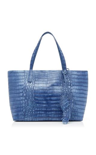 Nancy Gonzalez Erica Medium Crocodile Zipper Bag In Blue