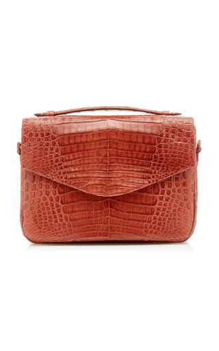 Nancy Gonzalez Lucy Large Linen-Trimmed Crocodile Bag In Brown