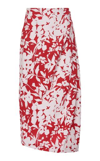 Rosie Assoulin Women's Draped Floral-print Silk Midi Skirt In Serrano Red