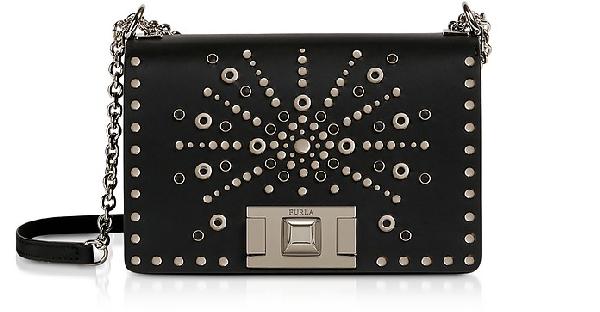 Furla Onyx MimÌ Mini Crossbody Bag W/ Silver Studs In Black