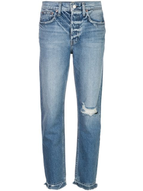Trave Denim Distressed High Rise Jeans In Blue