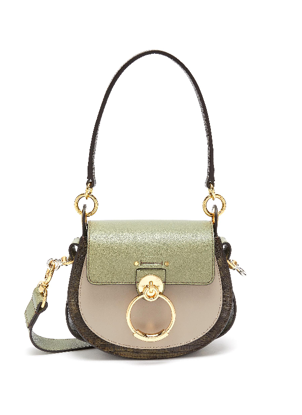 ChloÉ 'Tess' Ring Lizard Embossed Panel Small Leather Saddle Bag In Antique Green / Lizard Embossed