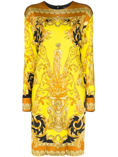 Versace Femme Baroque Jersey Shift Dress In Yellow