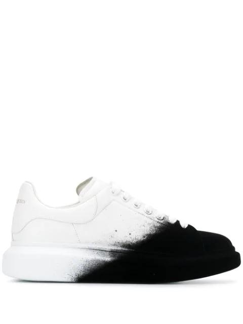 Alexander Mcqueen 'Oversized Sneaker' In Flocked Leather In Optic White Black