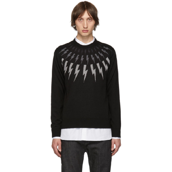 Neil Barrett Lightning Embroidered Sweater In 1891 Black