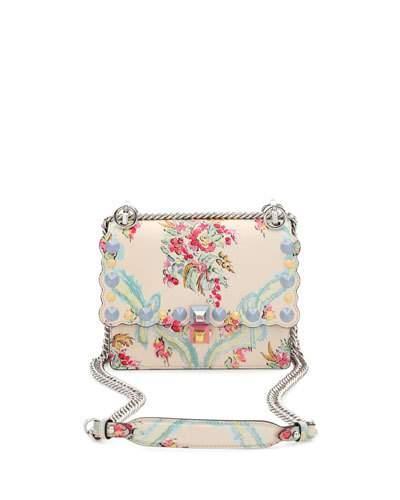 32a1f1cc8a1 Fendi Kan I Mini Studded Floral-Print Leather Chain Shoulder Bag In Cream  Multi