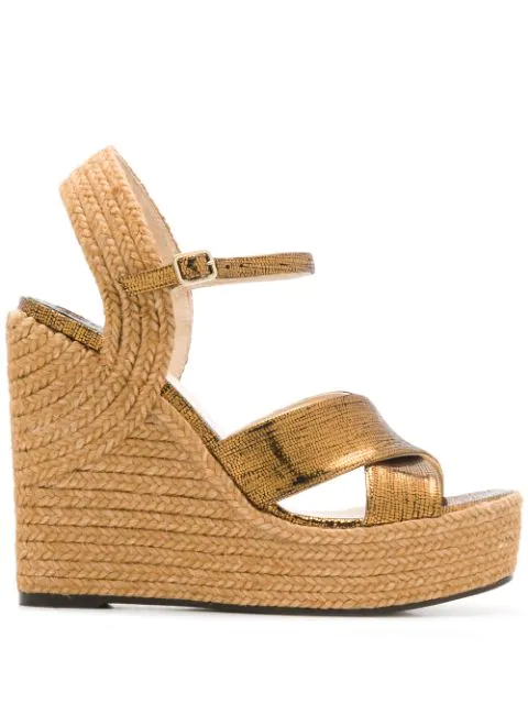 Jimmy Choo Dellena 100mm Espadrille Wedges In Gold