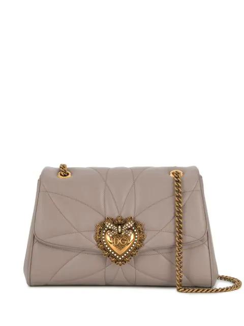 Dolce & Gabbana Devotion Shoulder Bag In Grey